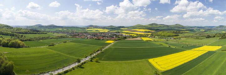 Landschaft, Panorama mit Rapsfeldern auf dem Land