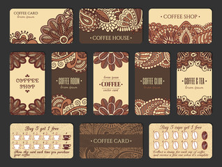 Coffee card design set in Indian style. Vertical and horizontal cards with loyalty program.  EPS 10 vector template collection.