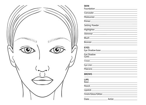 Female face chart blank for professional make-up artists. EPS 10 vector.