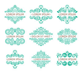 Elegant retro flourish set. Ornamental vintage logo design. Baroque style ornaments EPS 10 vector illustration. Isolated.