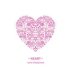 Heart Ornamental pink heart made of swirls and leaves. Romantic retro style flourish emblem. EPS 10 vector illustration. Valentine's day card design template. Isolated on white background