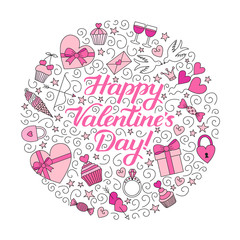 Doodle background with hand-drawn lettering phrase Happy Valentine's Day! Round composition shades of pink. EPS 10 vector illustration.
