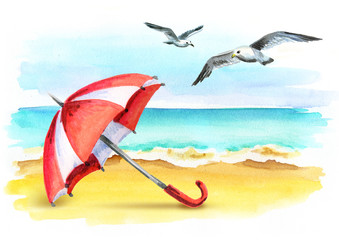Vacation. Summer lifestyle on the coast. Healthy living concept. Watercolor illustration