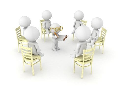 3D illustration of therapist helping patients of twelve step help program