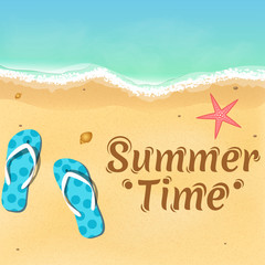 Slates, a starfish and a beautiful text on the beach. Opening of the summer season. Relax on the beach. Vector illustration