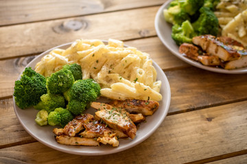 Chicken broccoli Alfredo. Healthy meal. Pasta, broccoli and chicken..