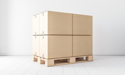 Stack of Four Brown cardboard boxes mockup on euro pallet, in white room, 3d rendering