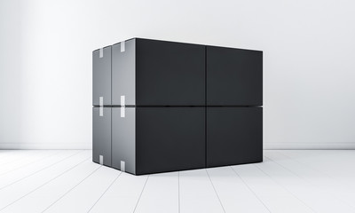 Stack of Four Black cardboard boxes mockup in white room, 3d rendering