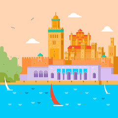 Travel concept. Travel in Morocco, study of the country and its culture, traditions, sights, learn about the history of the continent. Vector illustration.