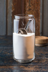 Flour in a glass storage container