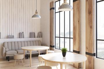 Shutters cafe interior corner