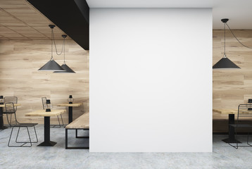 Wooden and white cafe, wall