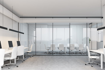 Meeting room and open space, side