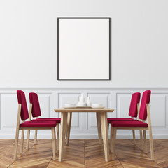White wall dining room, red chairs