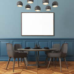 Blue wall dining room, black chairs