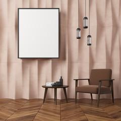 Beige textured wall living room, brown armchair