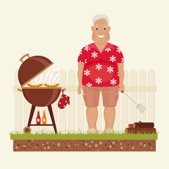 Grandpa grilling outside