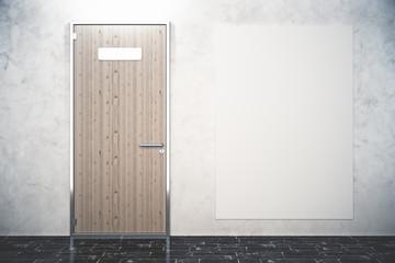 Wooden door and poster