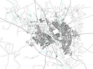 Cartina di Mosul, Iraq settentrionale. vista satellitare, antica mappa, pergamena