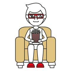 Man on sofa eating pop corn vector illustration design