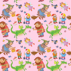 Fairy tale characters. Seamless pattern. Illustration for children. Cute and funny cartoon characters