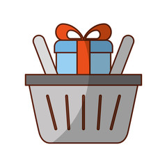 basket shopping with gift isolated icon vector illustration design