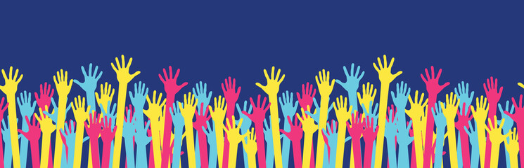 Seamless horizontal pattern from raised colorful hands at a party. Waving hands in the fun event. Hand-voting in the crowd. Vector illustration