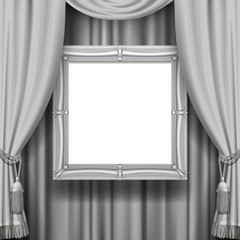 Gray ornamental curtain background with a suspended silver classic frame