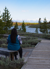 Woman with long black hair and a turquoise vest sitting on a bench in Yellowstone National Park viewing the Madison River. Her back is to the camera.