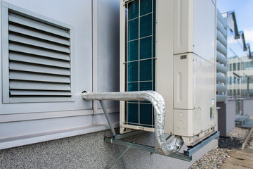 Air conditioning equipment atop a modern building