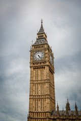 Great view of Big Ben tower on a dark day