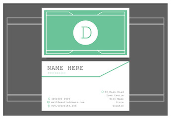 Teal and White Business Card Layout 1
