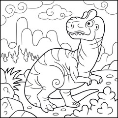 Cartoon funny allosaurus, coloring book