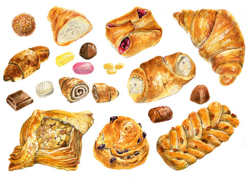 Set of baking in watercolor style.