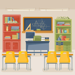 Back to school vector illustration with school supplies. School theme