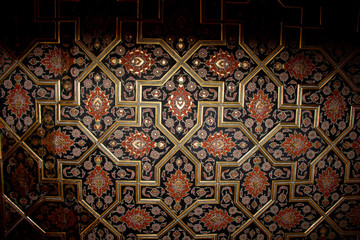 Ottoman floral patterns on wood