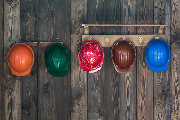 Multi-colored work helmets, construction helmets