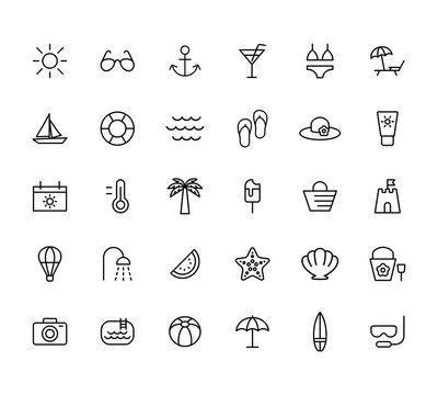 summer, travel, holiday and beach icons set on white background, thin line