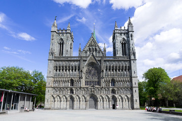 West front of the Nidaros Cathedral in Trondheim, Norway. It is the northernmost medieval cathedral in the world and the traditional location for the consecration of the King of Norway.