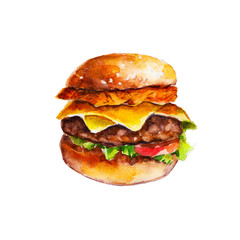 Hamburger with hash brown and vegetables, watercolor illustration isolated on white background.