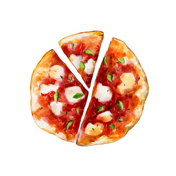 Pizza with melted mozzarella cheese and basil, watercolor illustration isolated on white background.