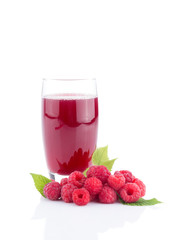 fresh raspberry juice with fresh berries isolated.