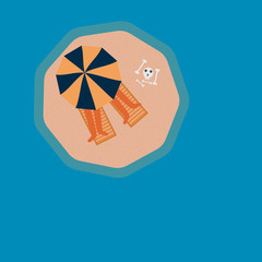 Tropical desert island. View from above. Vector illustration in flat style.