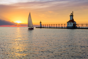 St. Joseph Lighthouses and Sailboat Solstice Sundown - St. Joseph, Michigan on Lake Michigan