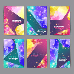 Abstract fashion posters, business card set. Geometric design of brochure title sheet. Annual report template.
