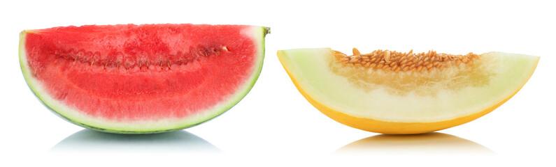 Melonen Wassermelone Honigmelone geschnitten Stück frische Frucht Obst Sommer Freisteller freigestellt isoliert