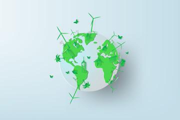 Paper art of World environment day with rainy season. Earth globe ,Vector illustration