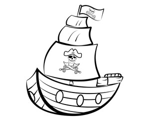 PIRATE SHIP OUTLINE ILLUSTRATION VECTOR