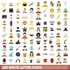 100 movie actor icons set, flat style