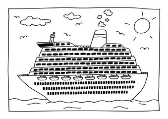 Ausmalbild - Kreuzfahrtschiff